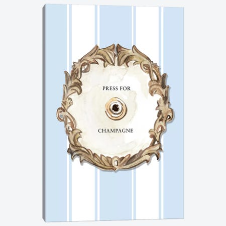 Press For Champagne (Blue) Canvas Print #MLC127} by Mercedes Lopez Charro Canvas Artwork