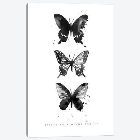 3 Inky Butterflys Canvas Print #MLC129} by Mercedes Lopez Charro Canvas Print