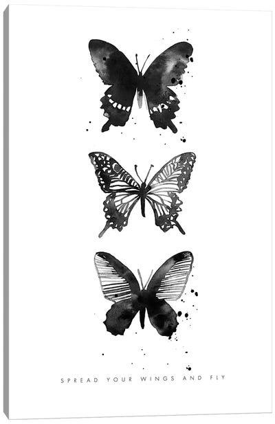 3 Inky Butterflys Canvas Art Print