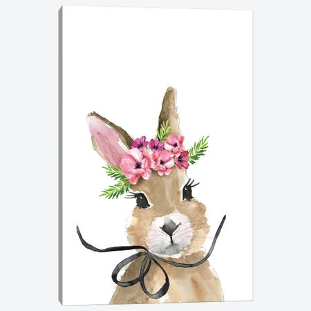 Bunny Flower Crown Canvas Print #MLC134} by Mercedes Lopez Charro Canvas Print