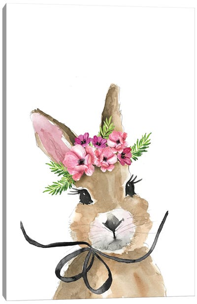Bunny Flower Crown Canvas Art Print