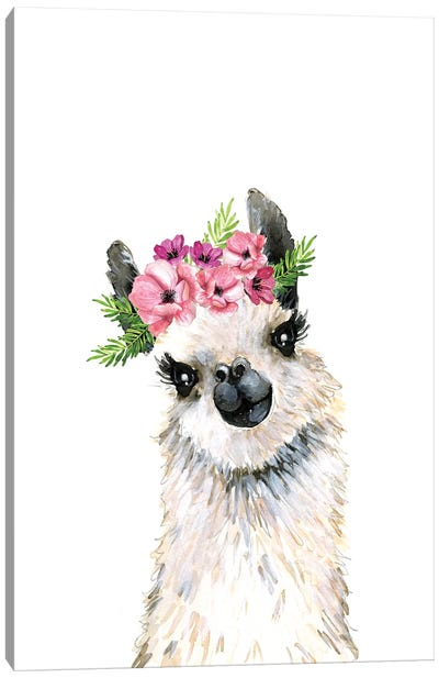 Lovely Llama Flower Crown Canvas Art Print