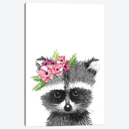 Racoon With Flower Crown Canvas Print #MLC154} by Mercedes Lopez Charro Art Print