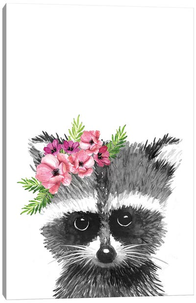 Racoon With Flower Crown Canvas Art Print