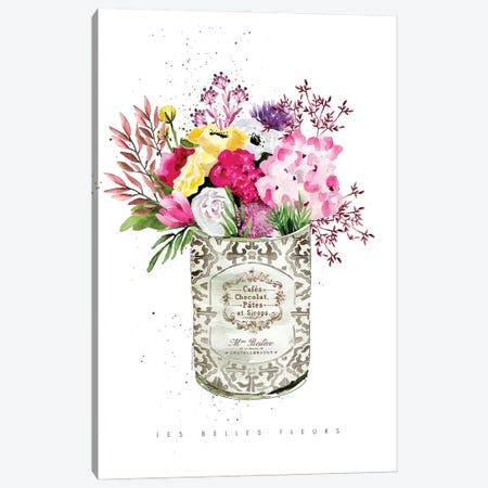 Pink Flowers In Vintage Can Canvas Print #MLC198} by Mercedes Lopez Charro Canvas Wall Art