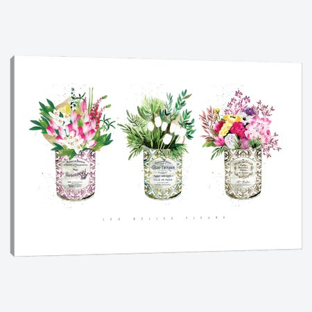 3 Vintage Cans With Mixed Florals Canvas Print #MLC199} by Mercedes Lopez Charro Canvas Artwork