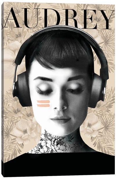 Audrey Headphones Canvas Art Print