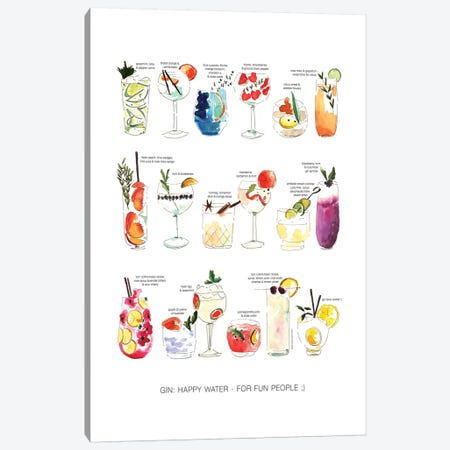 Gin Happy People Canvas Print #MLC25} by Mercedes Lopez Charro Canvas Art
