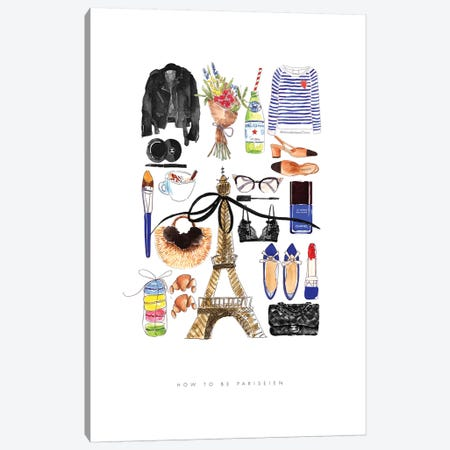 How To Be Parisien Canvas Print #MLC32} by Mercedes Lopez Charro Canvas Artwork