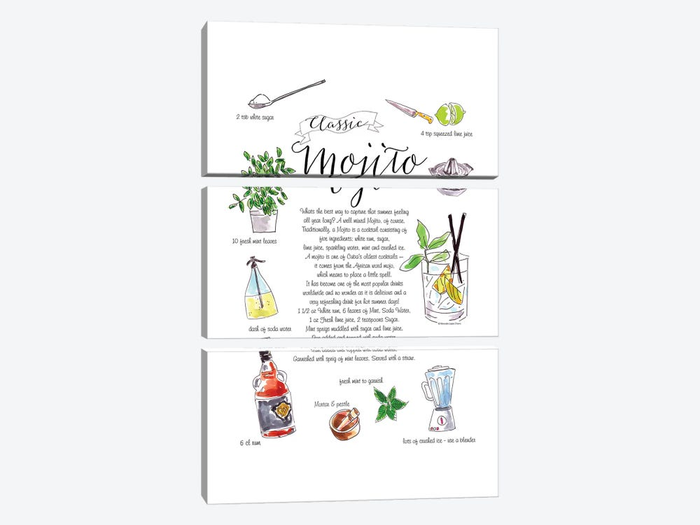Mojito by Mercedes Lopez Charro 3-piece Art Print