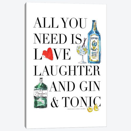 All You Need Is Gin 3-Piece Canvas #MLC4} by Mercedes Lopez Charro Canvas Wall Art