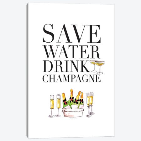 Save Water Canvas Print #MLC51} by Mercedes Lopez Charro Canvas Artwork