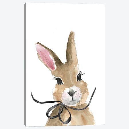 Bunny With Bow Canvas Print #MLC90} by Mercedes Lopez Charro Canvas Wall Art