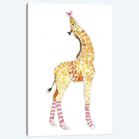 Giraffe With Butterfly Canvas Print #MLC97} by Mercedes Lopez Charro Canvas Print
