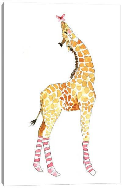 Giraffe With Butterfly Canvas Art Print