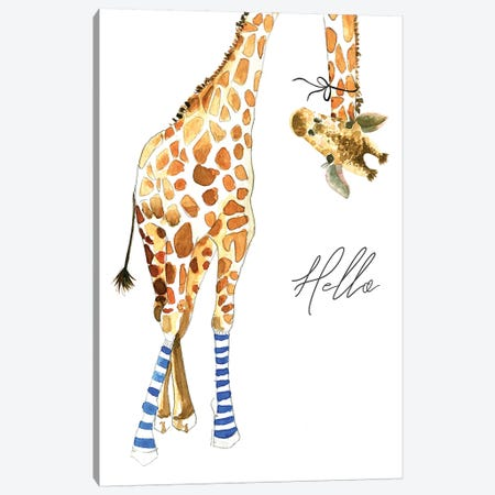 Giraffe With Socks Canvas Print #MLC98} by Mercedes Lopez Charro Canvas Art