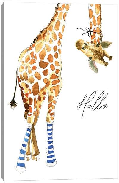 Giraffe With Socks Canvas Art Print
