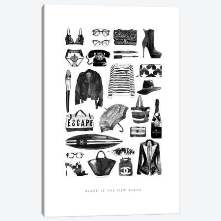 Black Fashion Items Canvas Print #MLC9} by Mercedes Lopez Charro Art Print