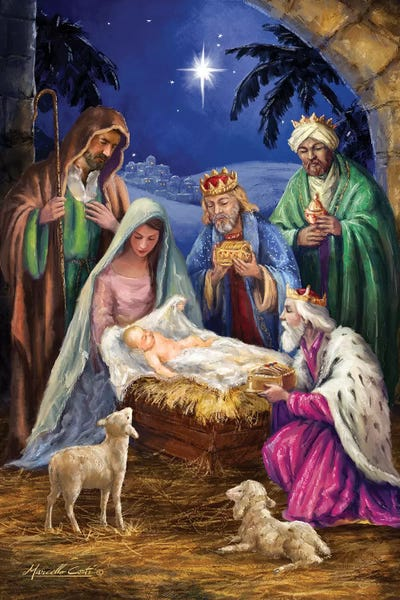 Holy Family With Three Kings Canvas Art Print By Marcello