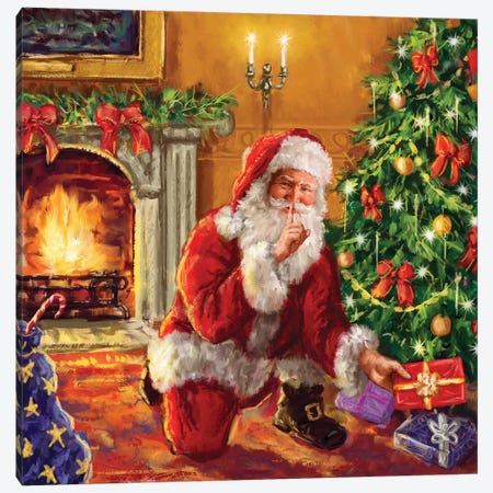 Santa At Tree With Present Canvas Print #MLL10} by Marcello Corti Canvas Print