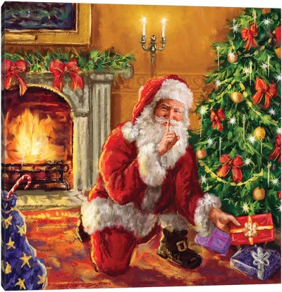 Santa At Tree With Present Canvas Art Print