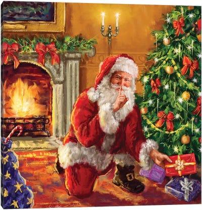 Santa At Tree With Present Canvas Art Print