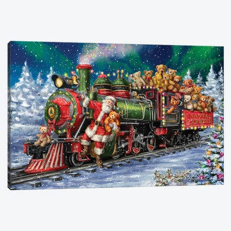 Santa Riding Train With Toy Bears Canvas Print #MLL11} by Marcello Corti Canvas Art Print