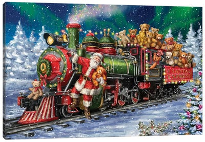 Santa Riding Train With Toy Bears Canvas Art Print