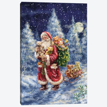 Santa in Winter Woods With Sack Canvas Print #MLL13} by Marcello Corti Canvas Print