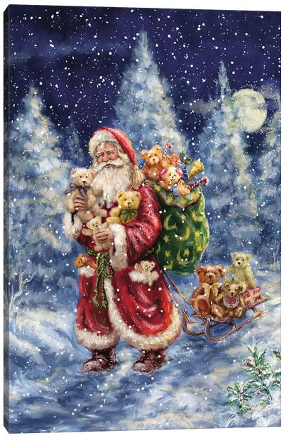 Santa in Winter Woods With Sack Canvas Art Print