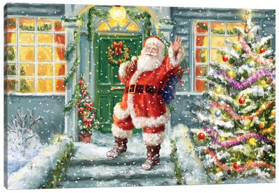 Santa On Steps With Green Door Canvas Art Print