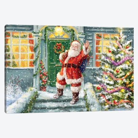 Santa On Steps With Green Door Canvas Print #MLL14} by Marcello Corti Canvas Artwork