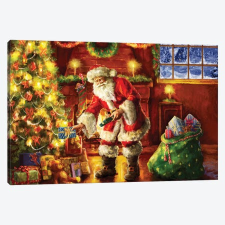 Santa Putting Gifts Under Tree Canvas Print #MLL15} by Marcello Corti Canvas Artwork