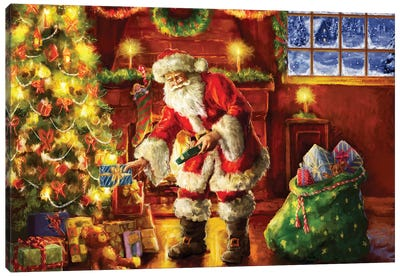Santa Putting Gifts Under Tree Canvas Art Print