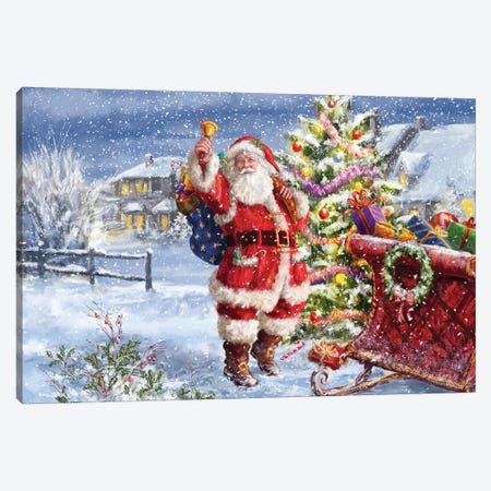 Santa Ringing Bell With Sleigh Canvas Print #MLL16} by Marcello Corti Canvas Artwork