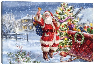 Santa Ringing Bell With Sleigh Canvas Art Print