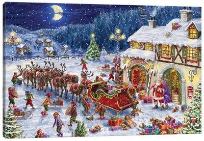 Santa Sleigh And Big Moon Canvas Art Print