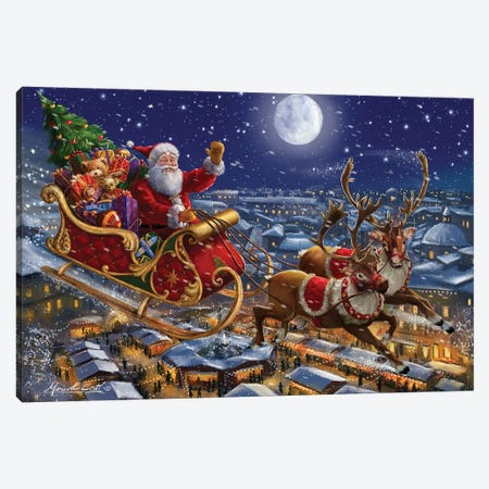 Santa Sleigh And Reindeer In Sky Canvas Print #MLL18} by Marcello Corti Art Print