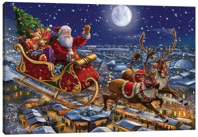 Santa Sleigh And Reindeer In Sky Canvas Art Print