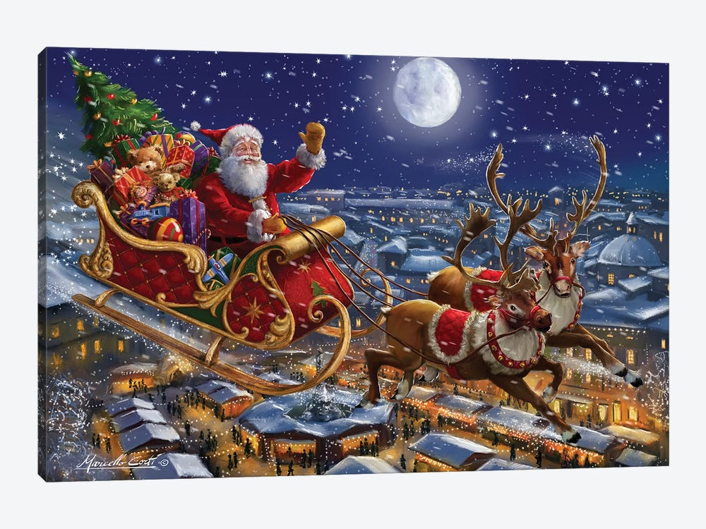 Santa Sleigh And Reindeer In Sky Art Print By Marcello Corti Icanvas