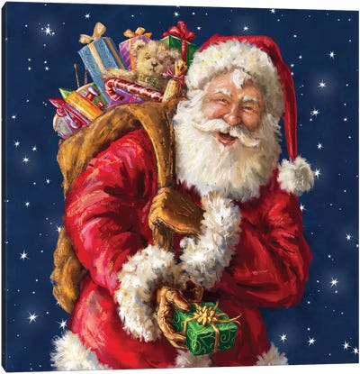 Santa Winking With Sack Canvas Art Print