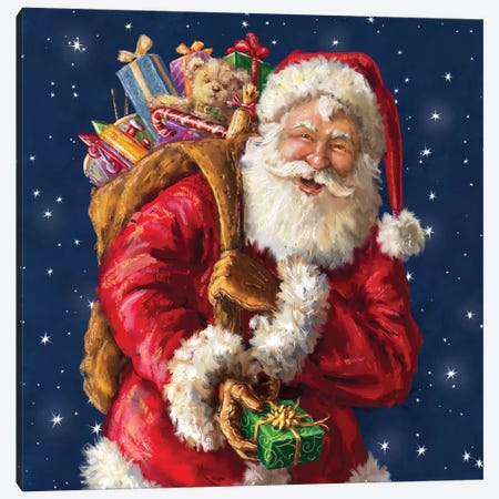 Santa Winking With Sack Canvas Print #MLL19} by Marcello Corti Canvas Print