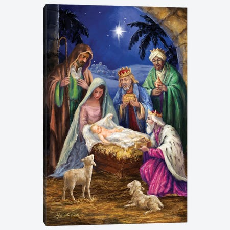 Holy Family With Three Kings Canvas Print #MLL1} by Marcello Corti Canvas Wall Art