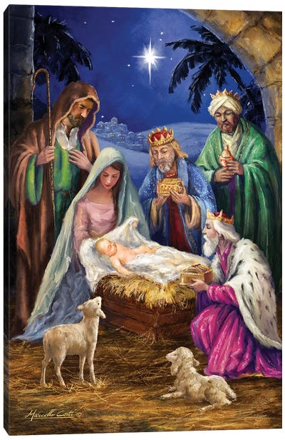 Holy Family With Three Kings Canvas Art Print