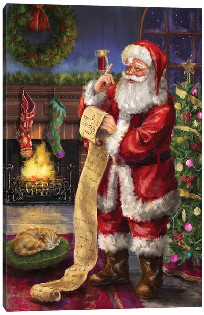 Santa With His List Canvas Art Print