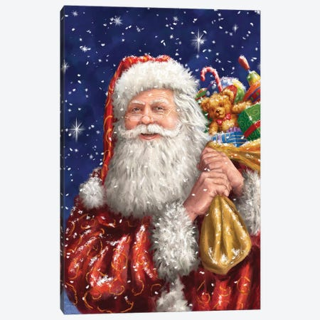 Santa With His Sack On Blue Canvas Print #MLL21} by Marcello Corti Canvas Art
