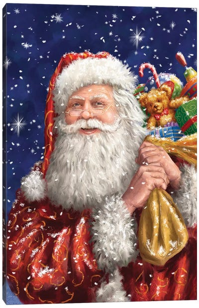 Santa With His Sack On Blue Canvas Art Print