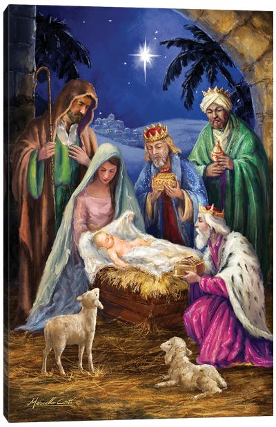 Holy Family with 3 Kings Canvas Art Print
