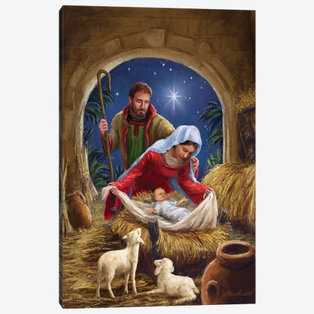 Holy Family with sheep Canvas Print #MLL24} by Marcello Corti Art Print