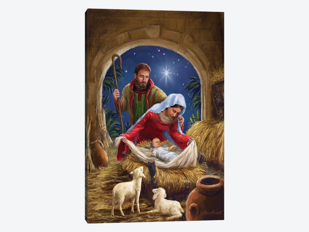 Holy Family with sheep by Marcello Corti 1-piece Canvas Art